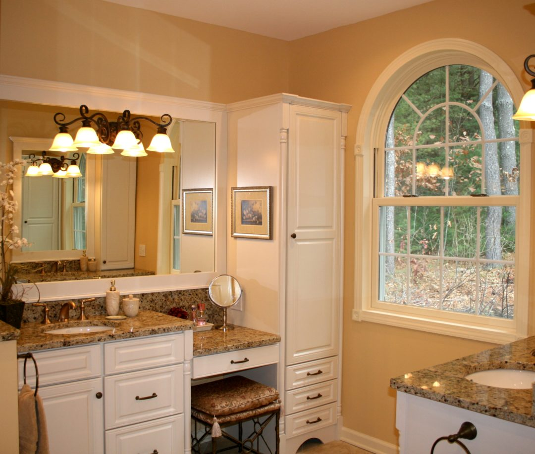white bathroom vanities with makeup station
